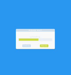 Upload window with progress bar interface vector