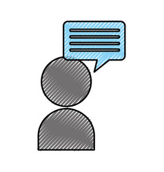 User with speech bubble message icon vector