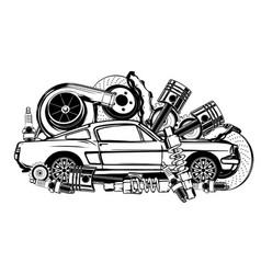 vintage car and components collection in black and vector image