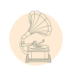 Vintage gramophone outline - retro music turntable vector