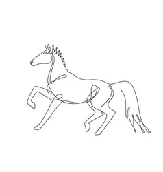 walking horseone line drawing continuous line vector image