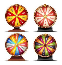 Wheel fortune set gamble chance leisure vector