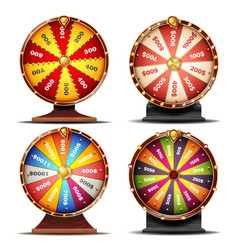 Wheel of fortune set gamble chance leisure vector