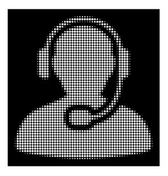 white halftone call center worker icon vector image