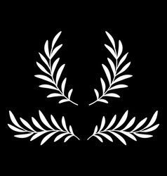 white olive branches with leaves and wreath vector image