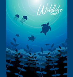 Wildlife day card of sea animals in coral reef vector