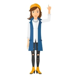 Woman pointing up with her forefinger vector image vector image