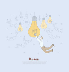 young entrepreneurs holding big light bulbs vector image