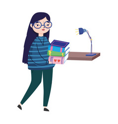 Young woman books and bookshelf lamp decoration vector