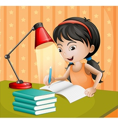 A girl writing with a lampshade vector image vector image
