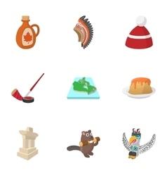 Canada icons set cartoon style vector image vector image