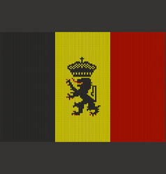 government ensign of belgium on knitted texture vector image vector image