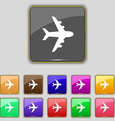 Plane icon sign set with eleven colored buttons vector