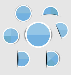 blue paper circle stickers with shadows vector image vector image