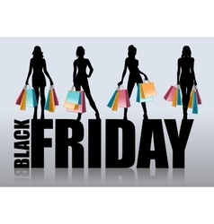 Female silhouette with shopping bags vector image