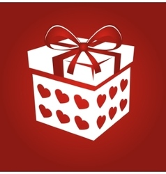 Gift box on red background vector image