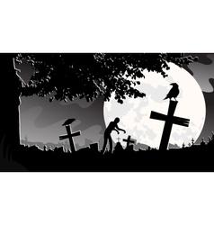 panorama landscape cemetery vector image vector image