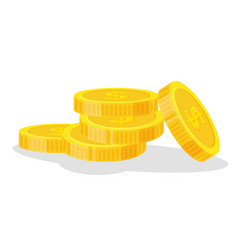 set coins stack icon flat vector image