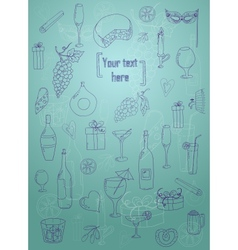 Wine and coctail card Holiday pattern with love vector image