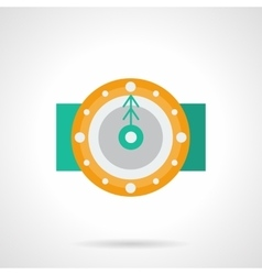 Yellow round clock flat color icon vector image