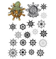 Heraldic nautical isolated helms set vector image vector image