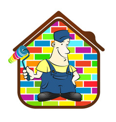 house painter with roller and a paint vector image vector image