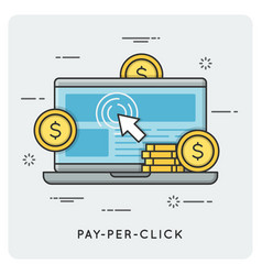 pay per click thin line concept vector image vector image