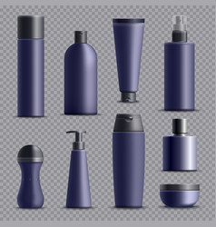 realistic male cosmetic packagings set vector image vector image