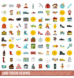 100 tour icons set flat style vector image