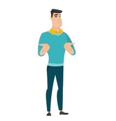 Caucasian confused businessman shrugging shoulders vector image vector image