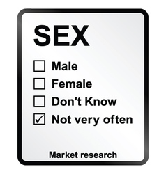 Market Research Sex Sign vector image vector image