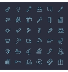 Outline web icons set - construction repair tools vector image