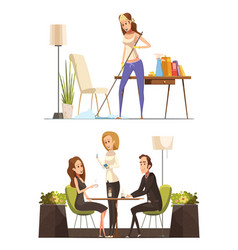 young woman at home and in coffee house vector image
