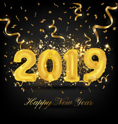 2019 happy new year greeting card background 2019 vector image