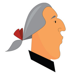 A man in a grey-colored wig has tied up his hair vector