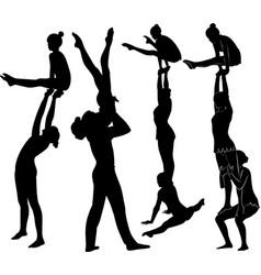 Acrobatic stunt gymnasts acrobats vector
