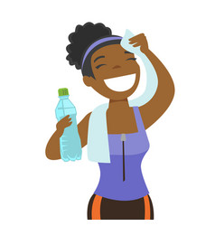African sportswoman wiping sweat with a towel vector