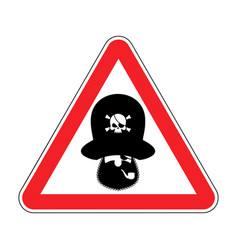 attention pirate red warning sign rover caution vector image