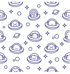 Baby ufo aliens outline style cartoon pattern vector