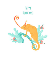 birthday greeting card with a funny chameleon vector image