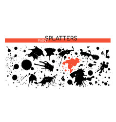 black paint splatters - set decorative design vector image