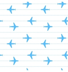 Blue and white flying planes striped seamless vector image