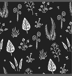 Botanica dark - seamless monochrome pattern vector