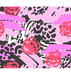 Bright pink scribble seamless pattern with flowers vector
