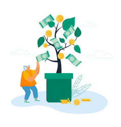 businesswoman take cash from tree with dollar vector image