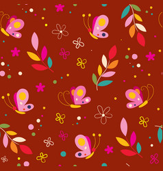 Butterflies flowers nature seamless pattern vector