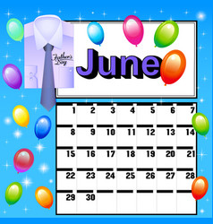 calendar for July Fathers Day vector image