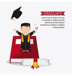 Cartoon boy graduate icon vector