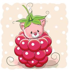 Cartoon kitten is sitting inside a raspberry vector