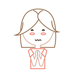 Cartoon worried woman icon vector
